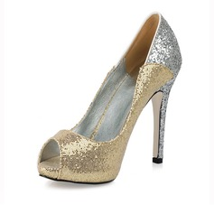 Sparkling Glitter Stiletto Heel Peep Toe Pumps Wedding Shoes With Sequin (047016570)