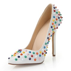 Patent Leather Stiletto Heel Pumps Closed Toe With Rivet shoes