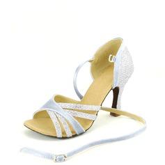 De mujer Satén Cuero Tacones Sandalias Danza latina con Tira de tobillo Zapatos de danza