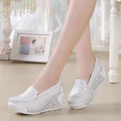Women's Real Leather Wedge Heel Closed Toe Wedges With Applique shoes