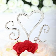Monogram/Heart Chrome Wedding Cake Topper