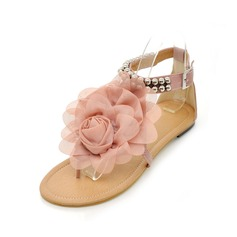 Lær Flat Hæl Sandaler Flate sko Titte Tå med Perlebesydd Spenne Blomst sko