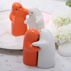 White & Orange Ceramic Salt & Pepper Shakers (051024588)