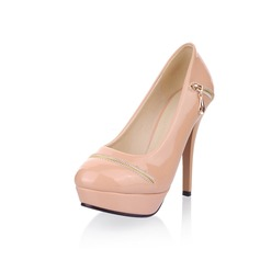 Patent Leather Stiletto Heel Platform Pumps With Zipper (085025199)