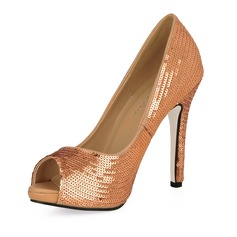 Leatherette Stiletto Heel Sandals Peep Toe With Sequin shoes
