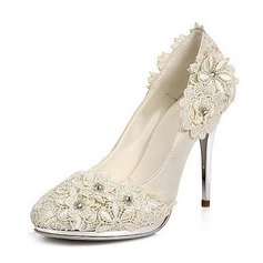 Women's Satin Stiletto Heel Closed Toe Platform Pumps With Rhinestone Satin Flower