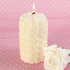 Ivory Delicate Rose Pillar Candles(096017618)