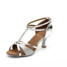 De mujer Cuero Brillo Chispeante Tacones Sandalias Danza latina con Tira T Tira de tobillo Zapatos de danza