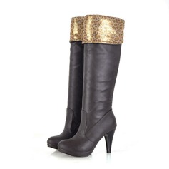 Leatherette Stiletto Heel Platform Pumps Knee High Boots With Animal Print