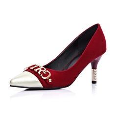 Camoscio Tacco a spillo Stiletto Punta chiusa con Tacchi ingioiellati scarpe
