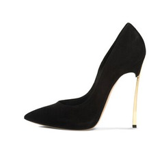 Real Leather Suede Stiletto Heel Pumps Closed Toe shoes