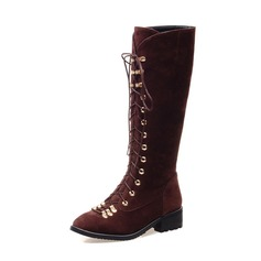 Women's Suede Low Heel Knee High Boots Riding Boots shoes