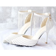 Women's Real Leather Stiletto Heel Closed Toe Pumps With Tassel