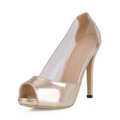Лакированная кожа Высокий тонкий каблук Сандалии Платформа Открытый мыс обувь