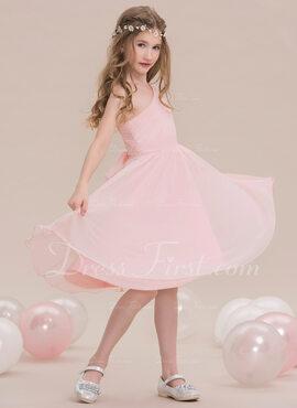 A-Line/Princess One-Shoulder Knee-Length Chiffon Junior Bridesmaid Dress With Ruffle
