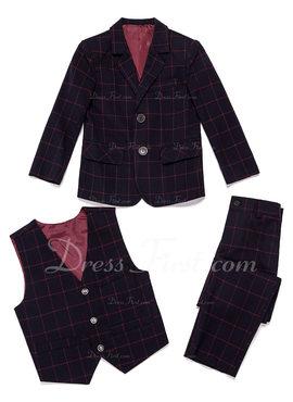 Jongens 3 stuks Plaid Pakken voor ringdragers /Page Boy Suits met Jas westen Broek