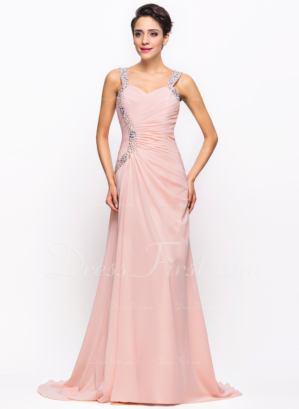 69e8a4913a Loading zoom. Cargando. Color De  Rosa perla. Corte A Princesa Novio Barrer Cepillo  tren Gasa Vestido de noche con Volantes Cuentas ...