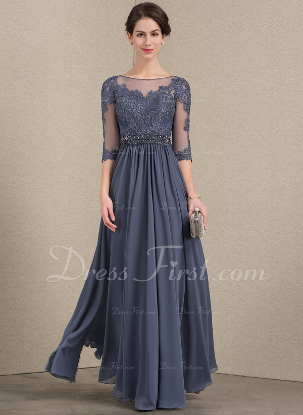 664128ce9bec3 Loading zoom. Loading. Color: Stormy. A-Line/Princess Scoop Neck Floor-Length  Chiffon Lace Mother of the Bride Dress With Beading .