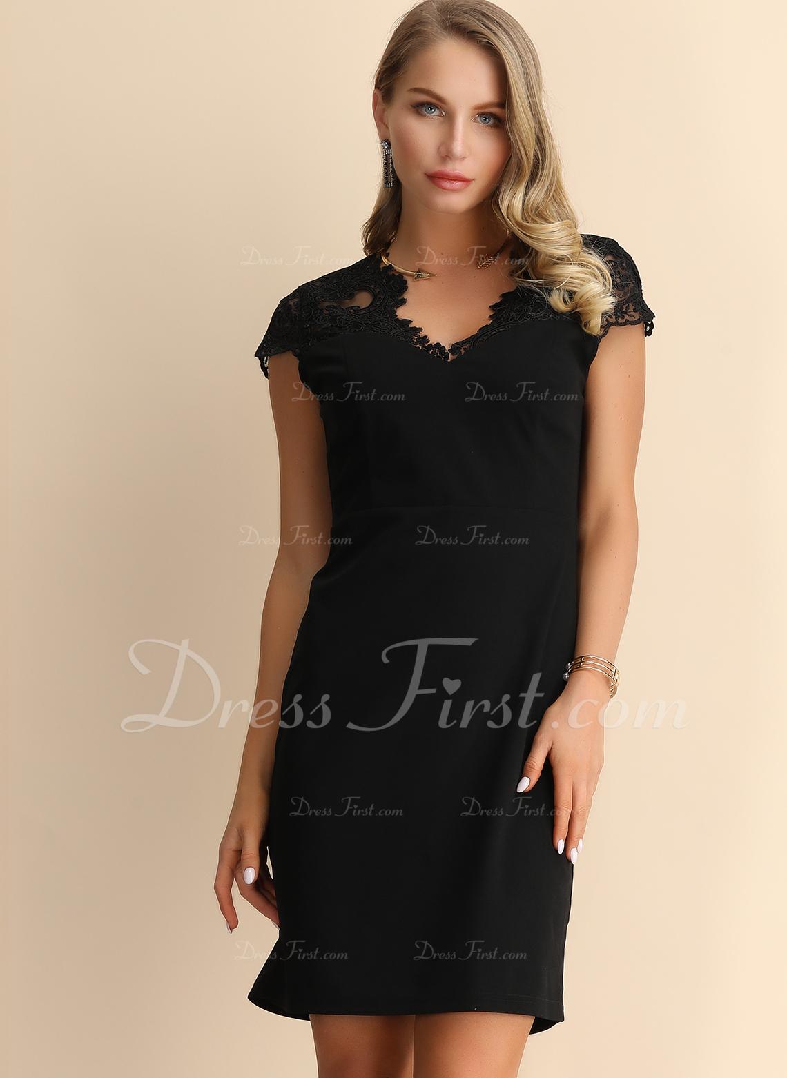 Spets Solid Shiftklänningar Korta ärmar Mini Den lilla svarta Fritids Modeklänningar