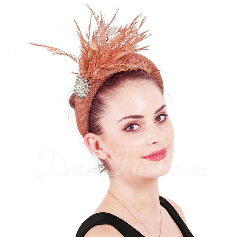 Señoras' Glamorosa/Elegante Batista con Pluma/La perla de faux Tocados/Derby Kentucky Sombreros
