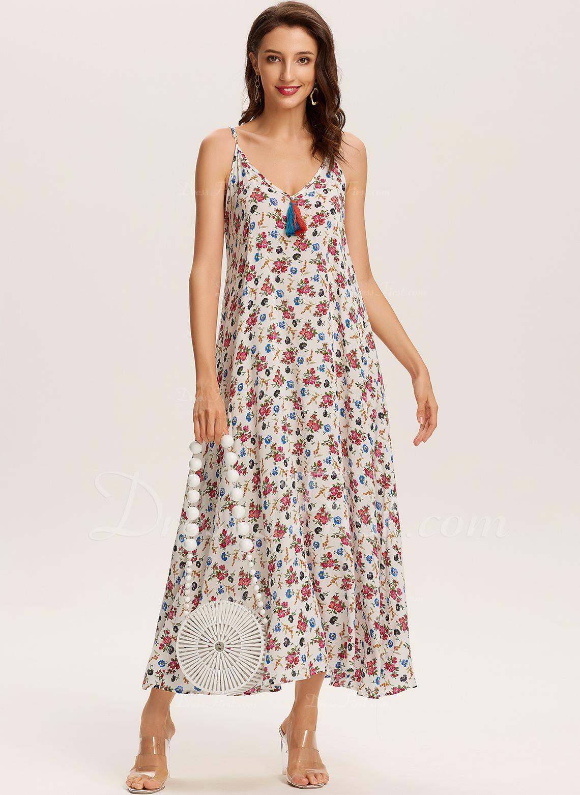 Floral Impresión Vestido línea A Sin mangas Maxi Boho Casual Vacaciones Patinador Vestidos de moda