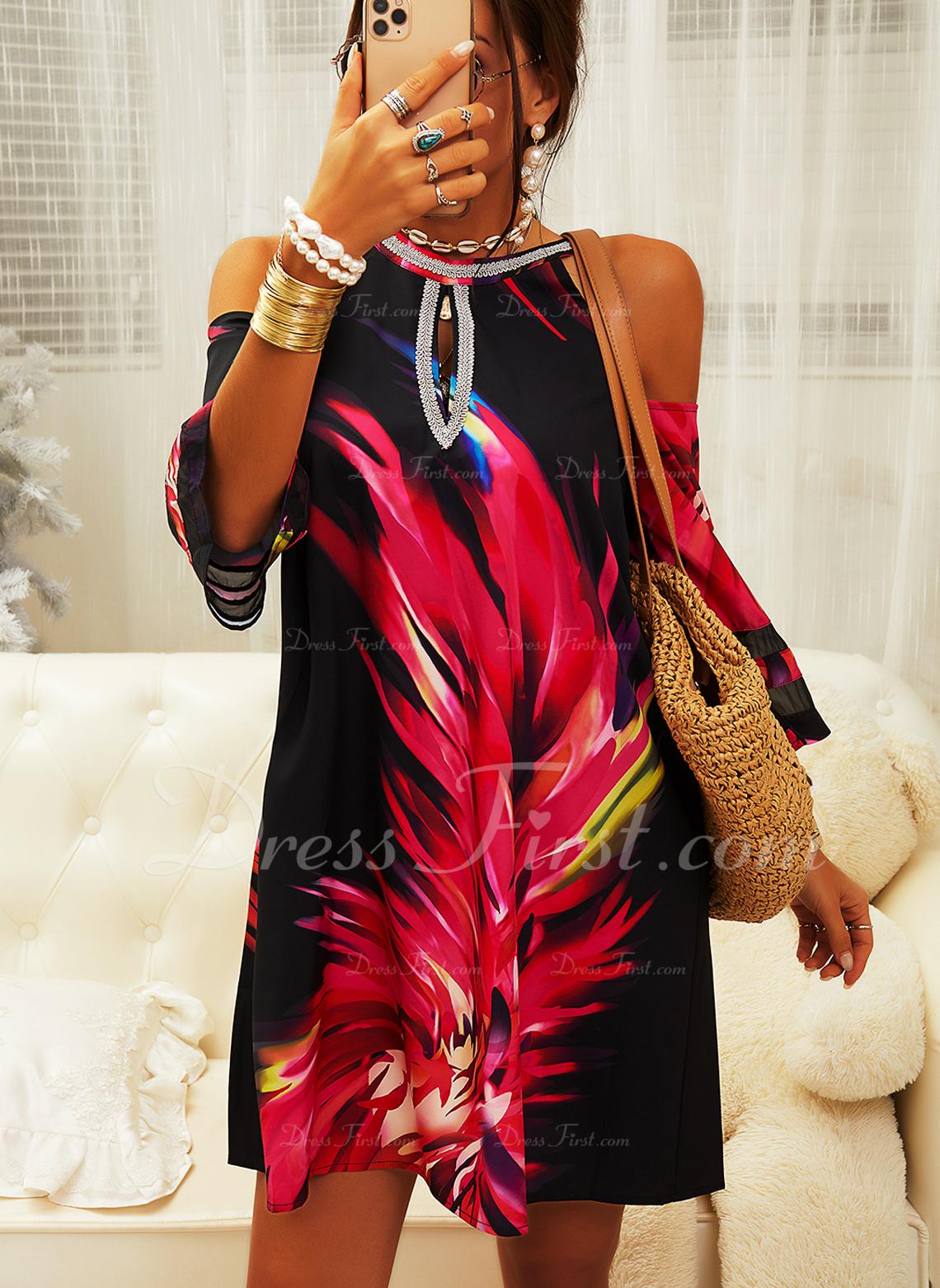 Nadruk Suknie shift Rękawy 3/4 Odkryte ramię Mini Nieformalny Tunika Modne Suknie