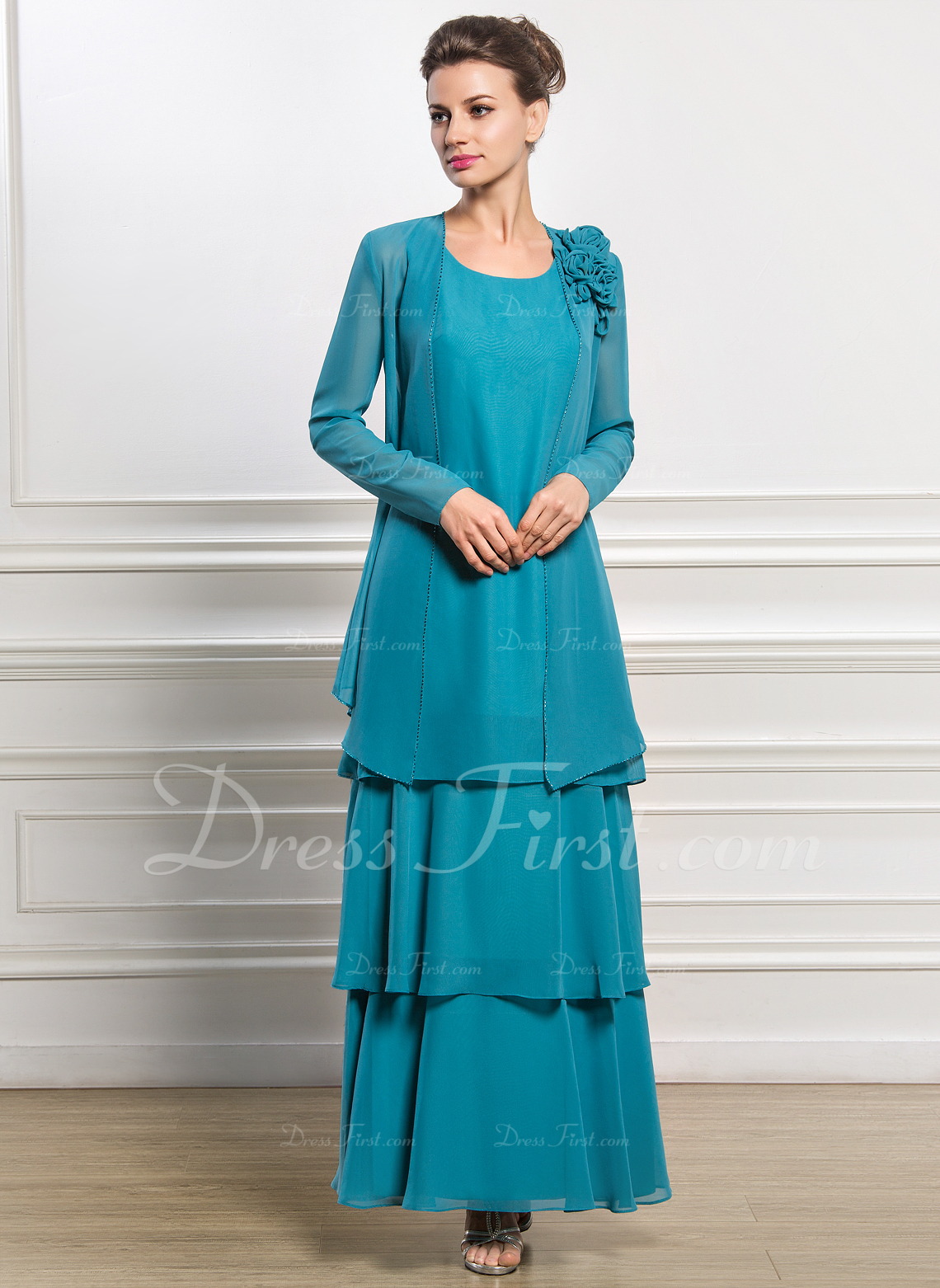 A-Line Scoop Neck Ankle-Length Chiffon Mother of the Bride Dress