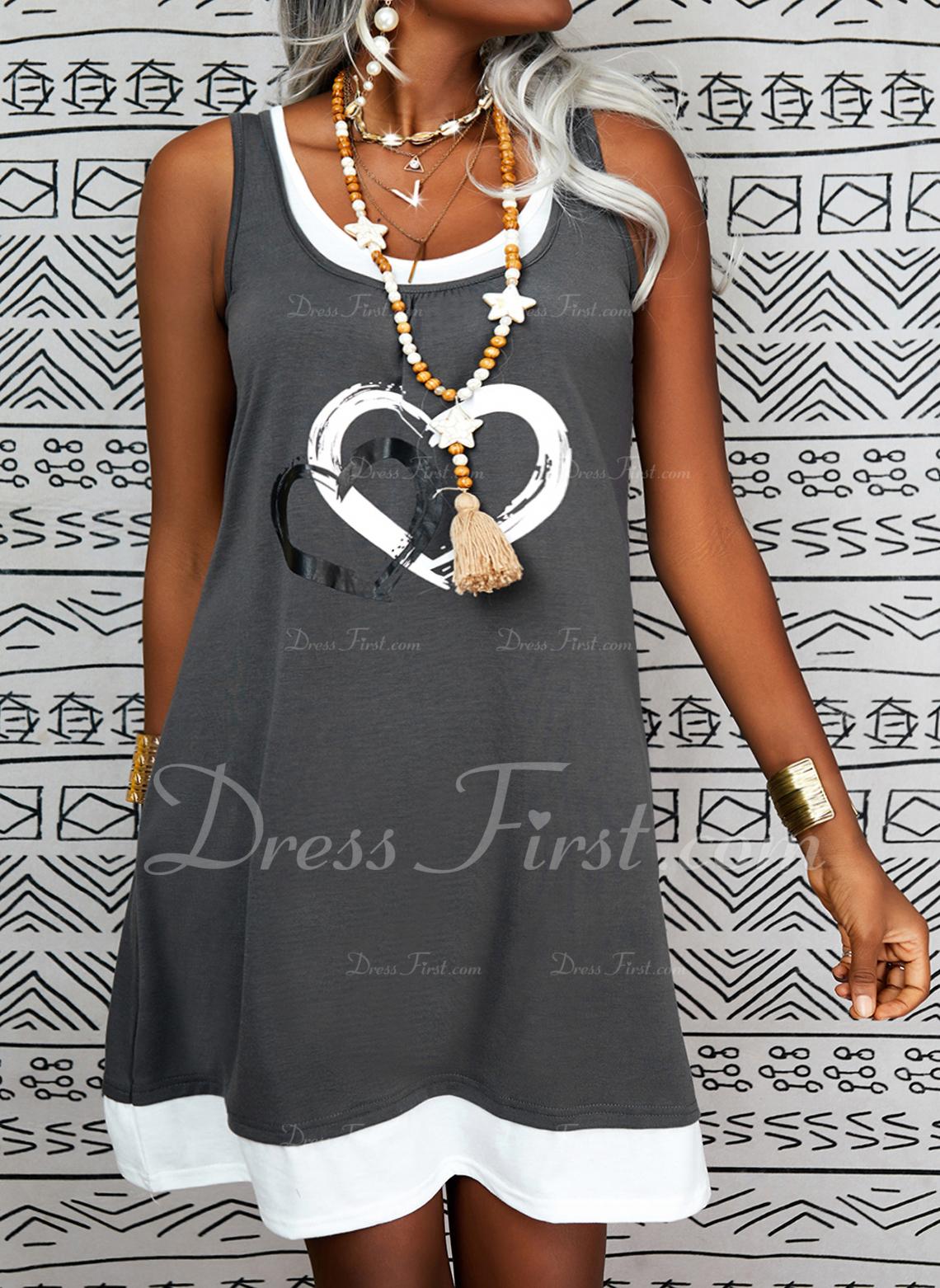 Impresión Corazón Vestidos sueltos Sin mangas Midi Casual Franelilla Vestidos de moda