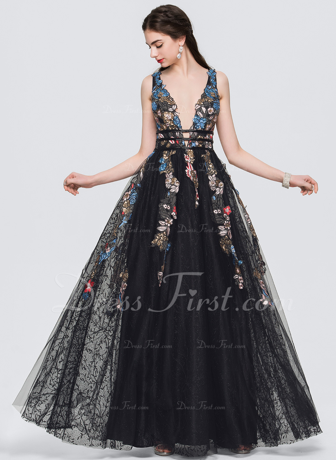 A-Line V-neck Floor-Length Evening Dress With Lace Beading Sequins