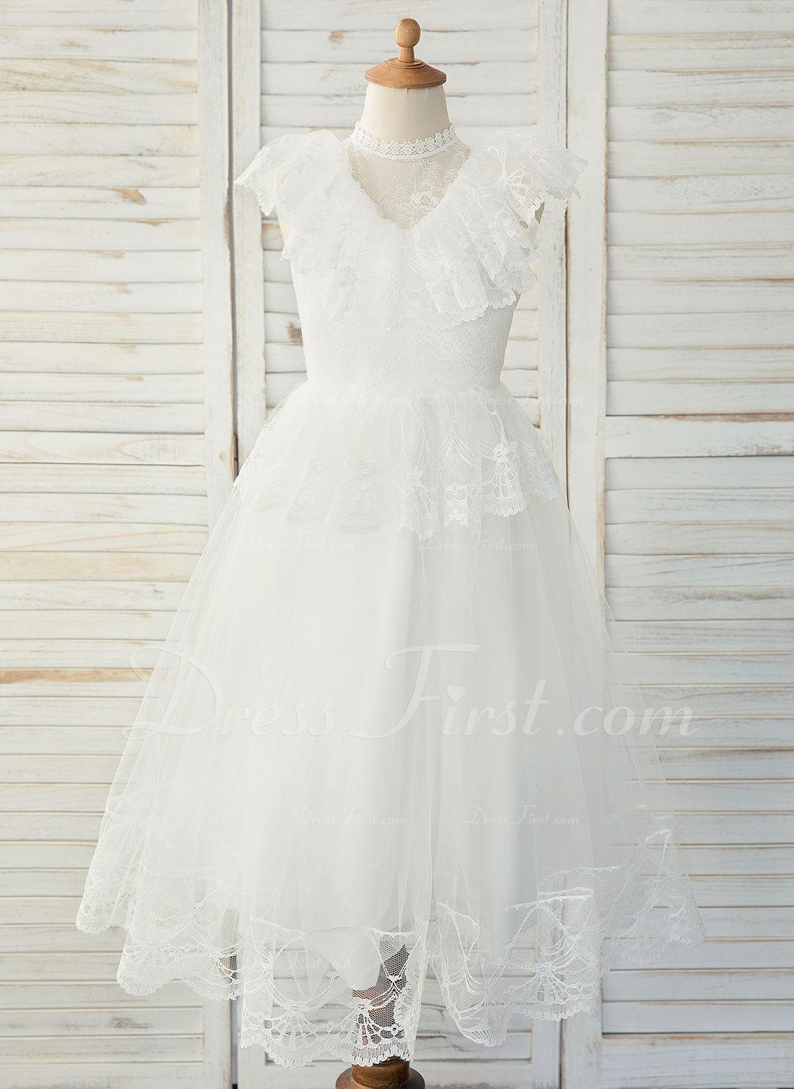 7633de3280d33 A-Line Tea-length Flower Girl Dress - Tulle/Lace Sleeveless Scoop Neck With  Ruffles #183526