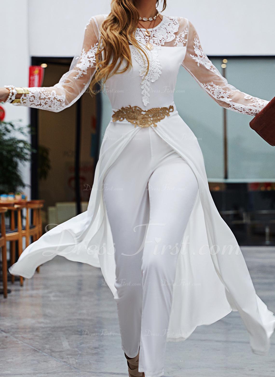 Spets Solid 3/4 ärmar Party Elegant Overaller Modeklänningar