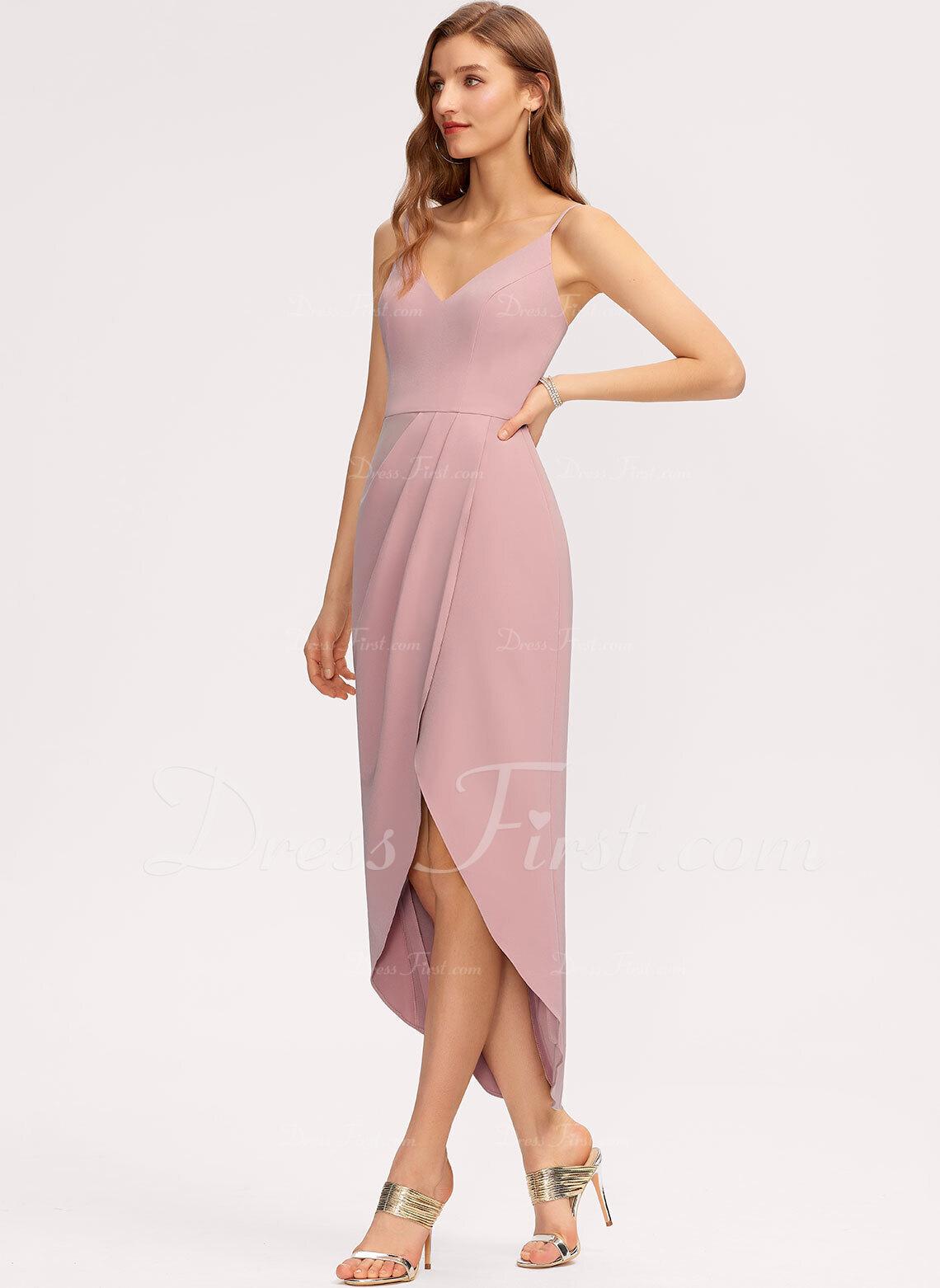 Sheath/Column V-neck Asymmetrical Stretch Crepe Bridesmaid Dress