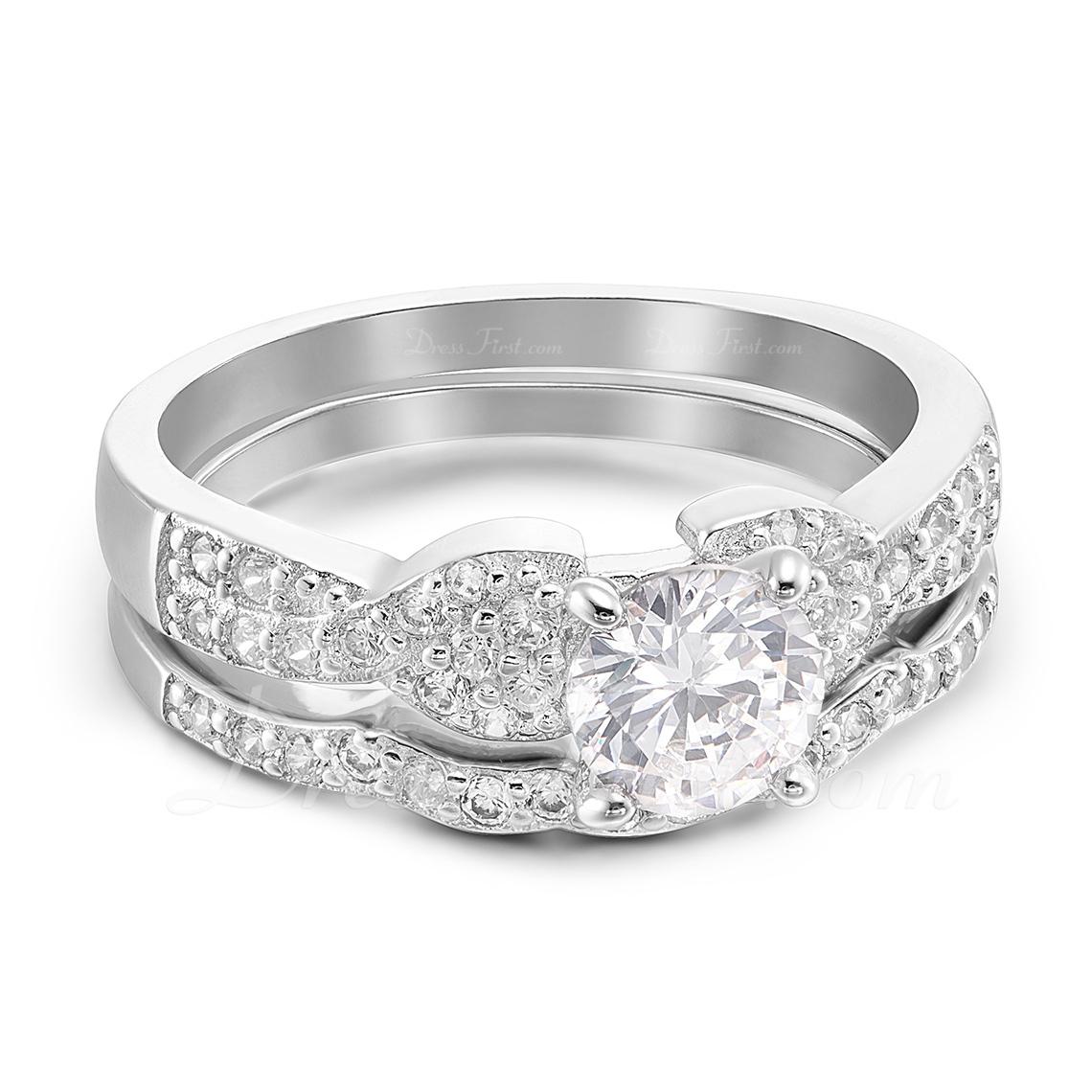 Sterling zilver Zirconia Sierlijk Ronde Snede Belofte ringen Bruids sets -