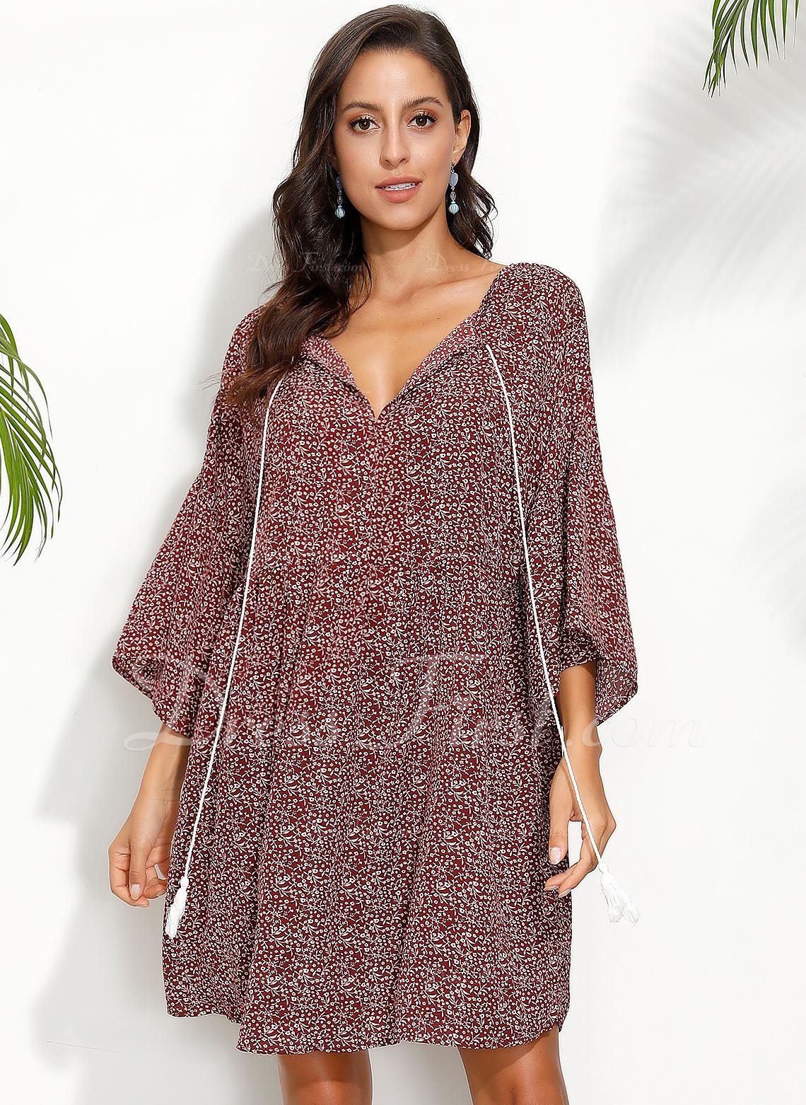 knælange V-hals Polyester Print Lange ærmer Mode kjoler