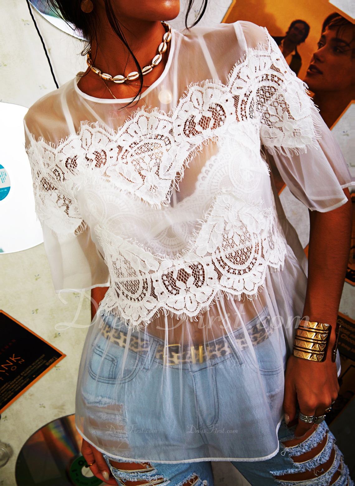 Lace Solid Round Neck 1/2 Sleeves Casual