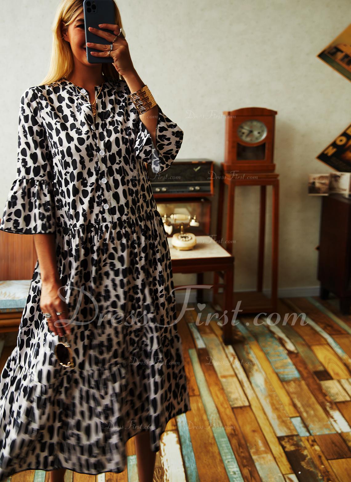 Leopard Etuikleider 3/4 Ärmel Midi Lässige Kleidung Tunika Modekleider