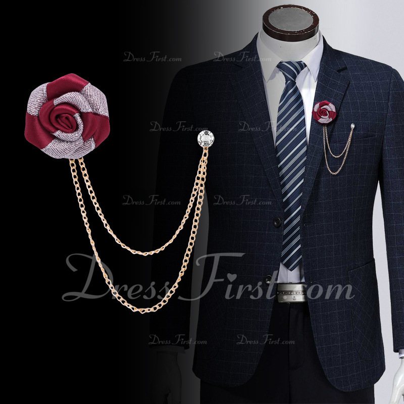 Gorgeous Free-Form Cloth Boutonniere (set of 2) - Boutonniere