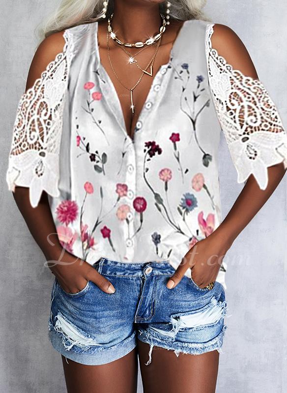 Floral Impresión Top Con Hombros Mangas 1/2 Casual Camisas Blusas