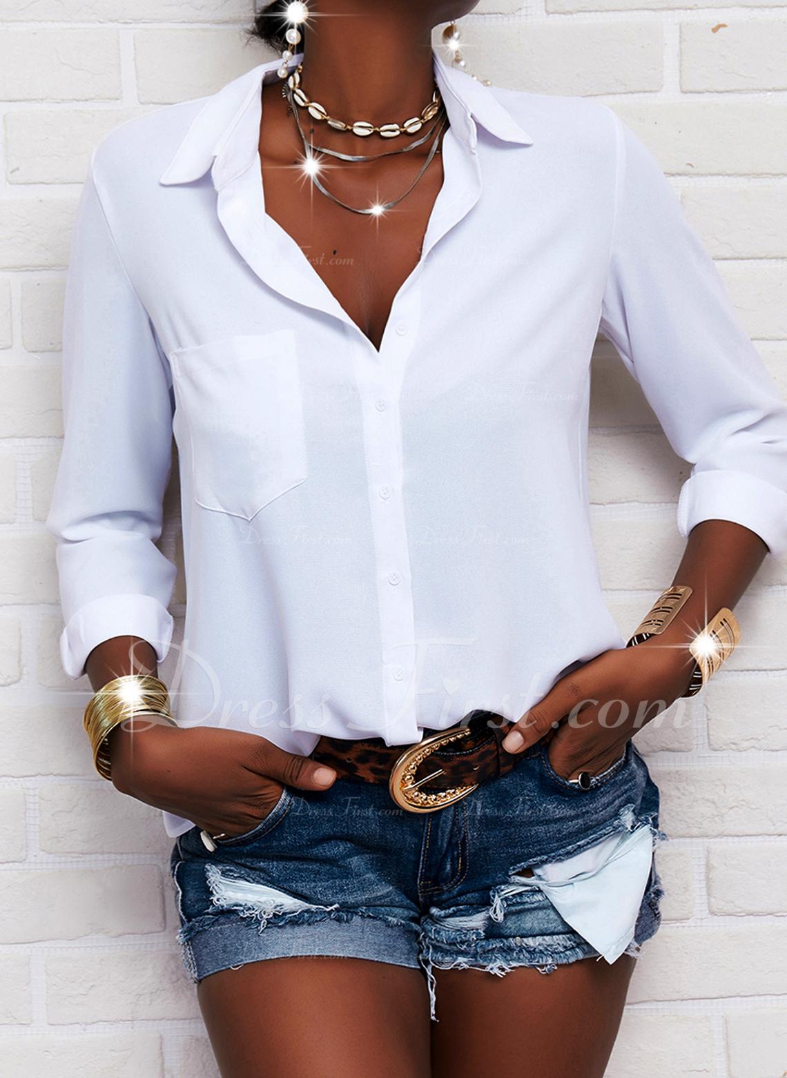 Solid V-hals Lange ærmer Button-up Casual Shirt Skjorter