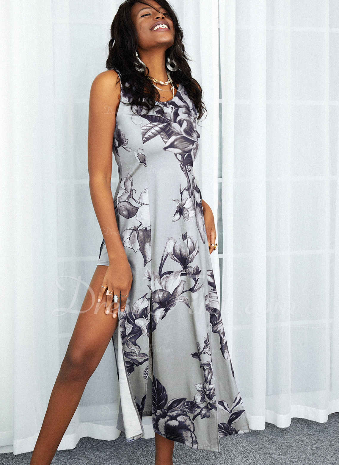 Floral Print A-line Sleeveless Maxi Casual Skater Dresses