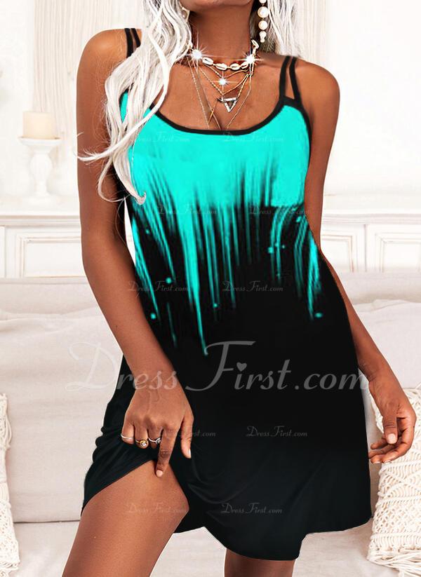 Impresión Degradada Vestidos sueltos Sin mangas Mini Casual Tipo Vestidos de moda