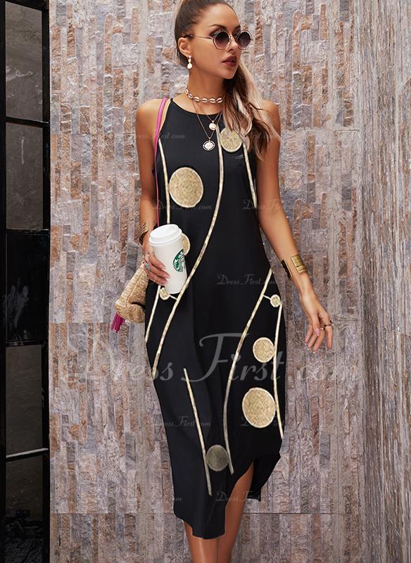 Impresión Vestidos sueltos Sin mangas Maxi Casual Vacaciones Tipo Vestidos de moda