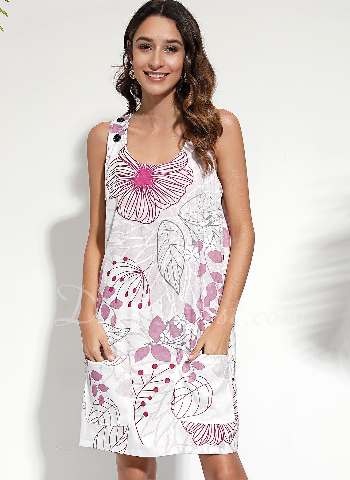 Over Knee rund hals Polyester Print Uden Ærmer Mode kjoler