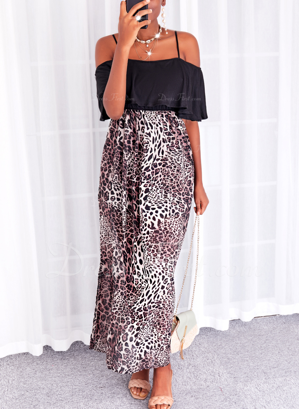 Leopardo Impresión Vestido línea A Mangas 1/2 Maxi Casual Vacaciones Patinador Vestidos de moda