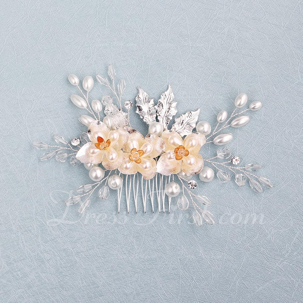 Vakkert Crystal/Rhinestone/Imitert Perle Kammer og Barrettes med Venetianske Perle (Selges i ett stykke)