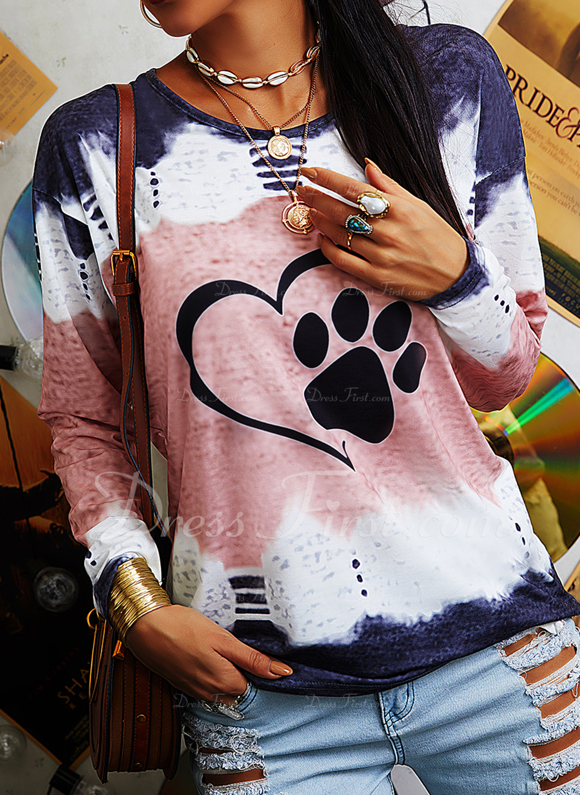 Tie Dye Animal Print Round Neck Long Sleeves Casual T-shirt