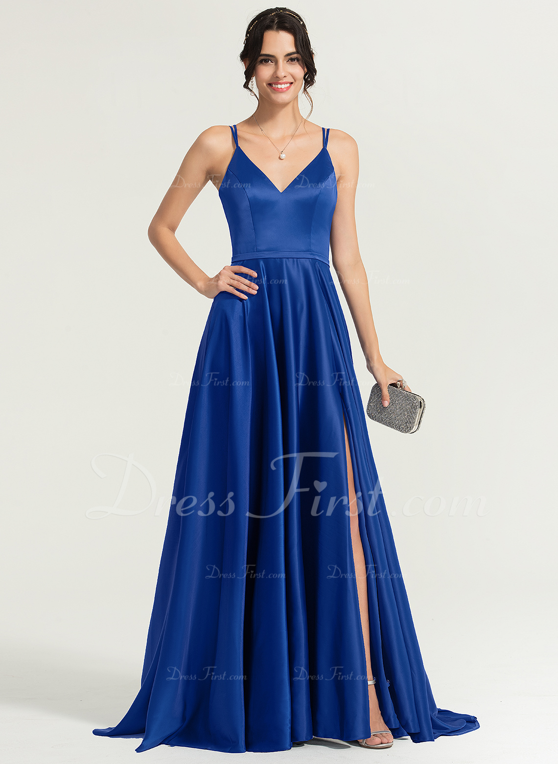 652e7889566 A-Line Princess V-neck Sweep Train Satin Prom Dresses With Split Front   186911