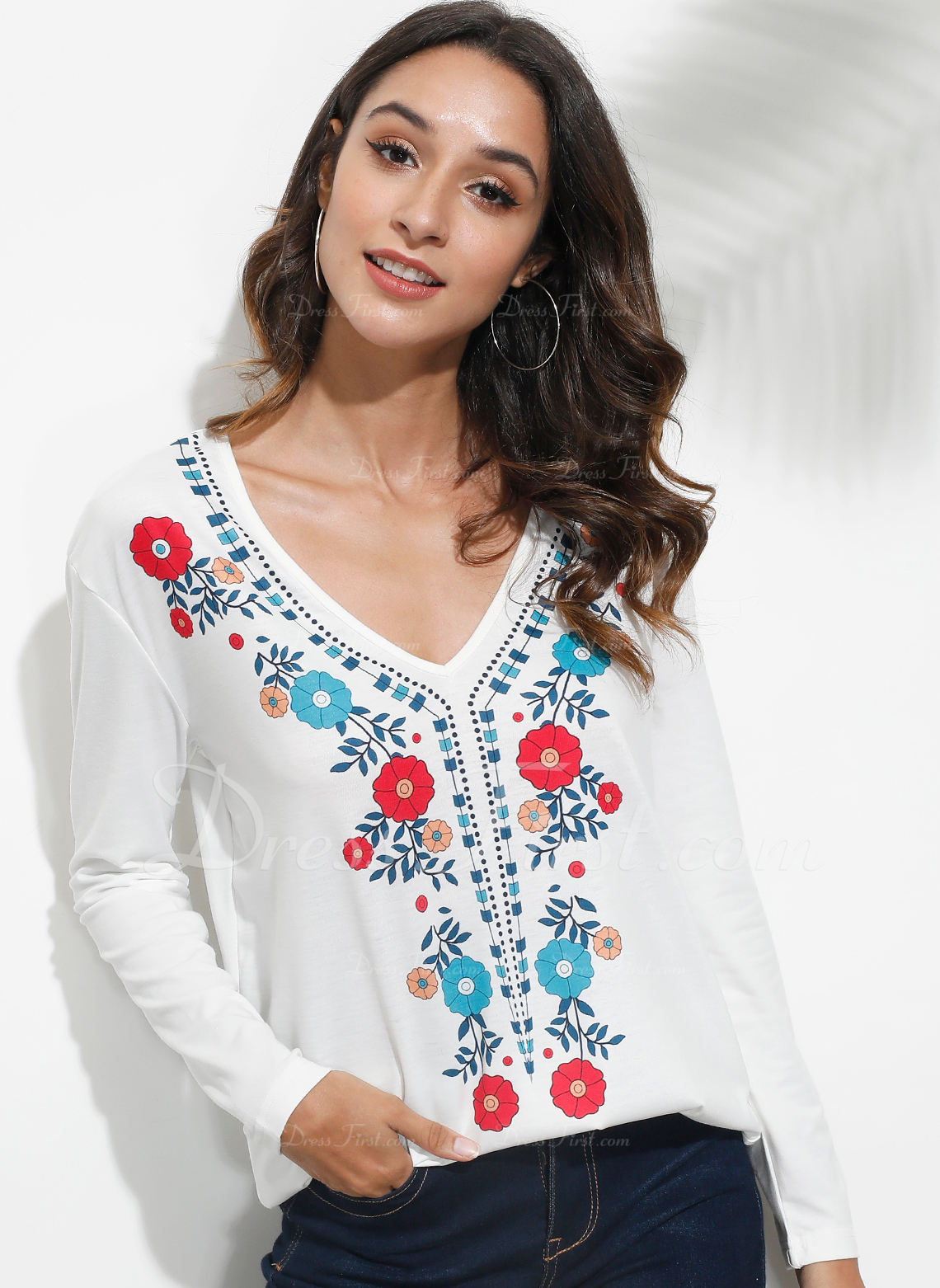 Drucken Blumen Lange Ärmel Polyester V-Ausschnitt T-shirt Blusen