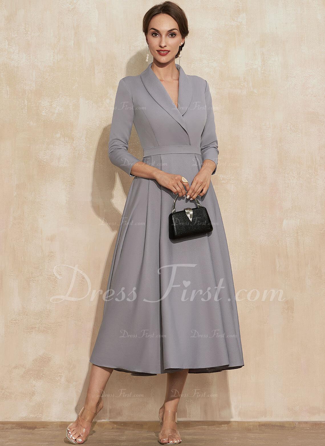 V-ringning 3/4 ärmar Midi Modeklänningar