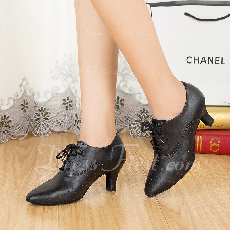 Women's Real Leather Ballroom Swing With Lace-up Dance Shoes